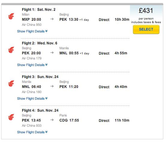 bilet avion beijing