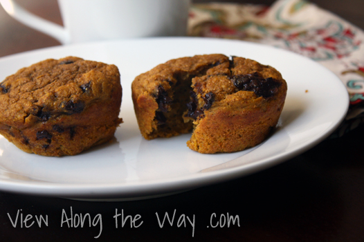 Healthy Real Food Pumpkin/Sweet Potato Chocolate Chip Muffins
