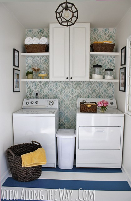 Laundry room makeover on a TINY budget at View Along the Way. Come see more at: http://www.viewalongtheway.com/2013/01/laundry-room-reveal/