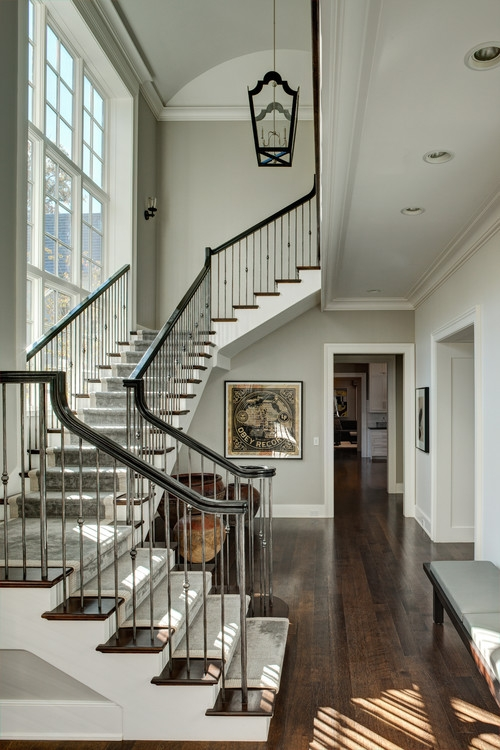 How To Install Iron Balusters View Along The Way | Cast Iron Handrails For Stairs | Baluster Curved Stylish Overview Stair | 1920'S | Iron Railing | Exterior Stair | Georgian