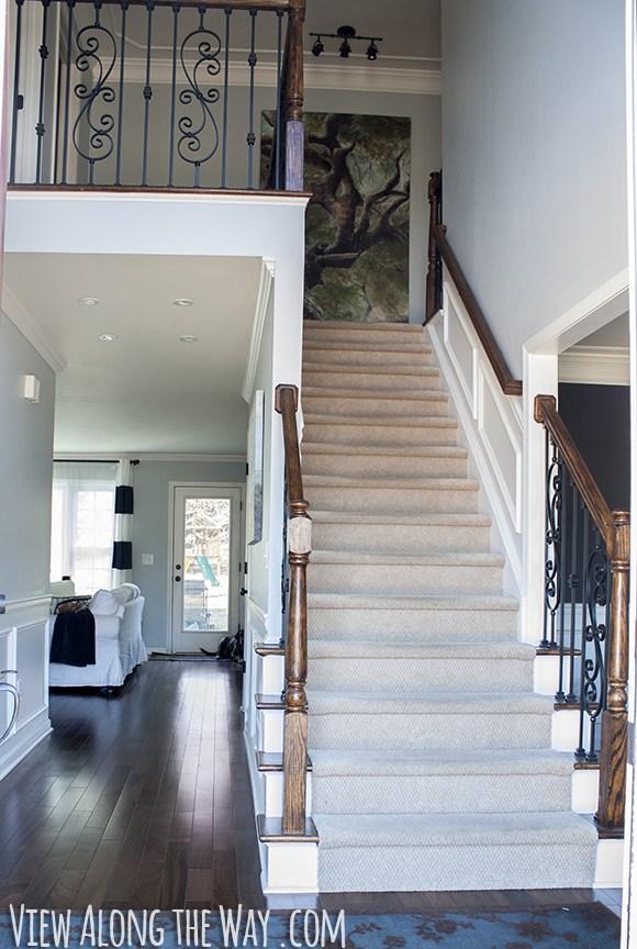 How To Refinish And Update Wood Stair Railings   White And Dark Wood Stairs   Medium Dark   Foyer   Stair Railing   Indoor   Traditional