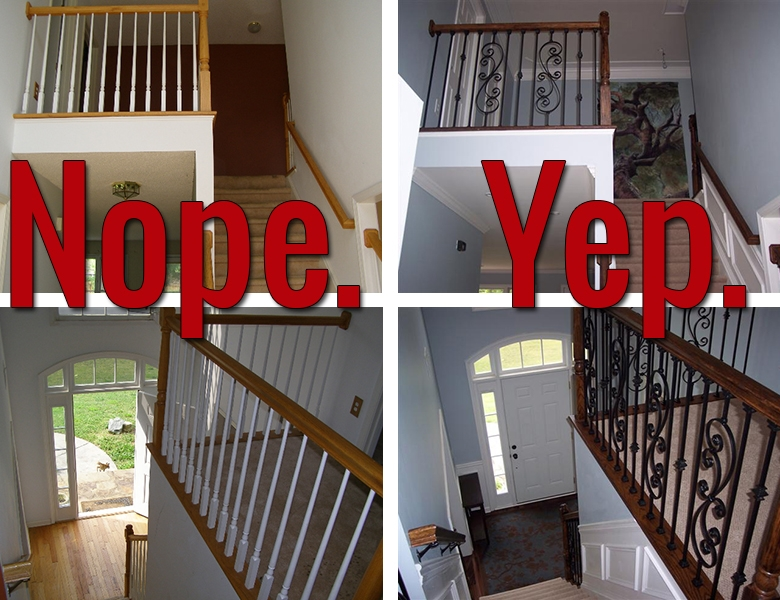 How To Install Iron Balusters View Along The Way | New Stair Railing Cost | Staircase Ideas | Glass Railing | Staircase Design | Stair Parts | Wooden Stairs