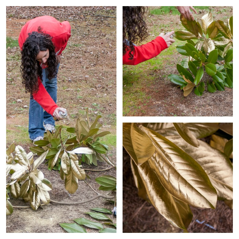 DIY Gold Magnolia Garland for Christmas Spray painting magnolia leaves