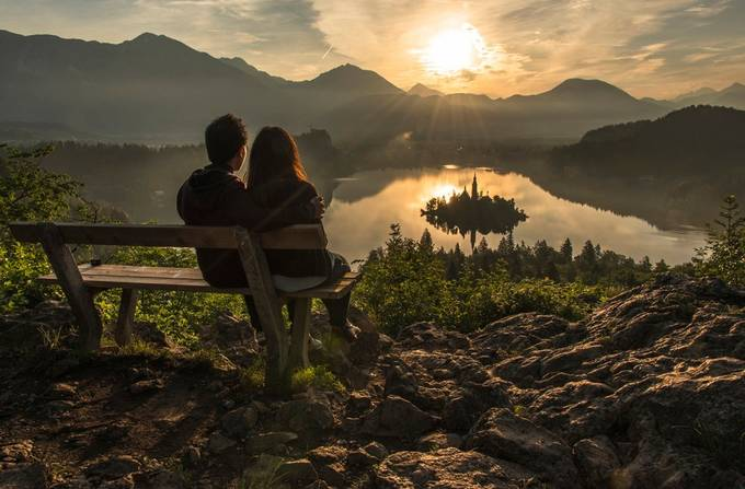 Young Couple on Bench at Sunrise by alekrivec - Love Photo Contest 2019