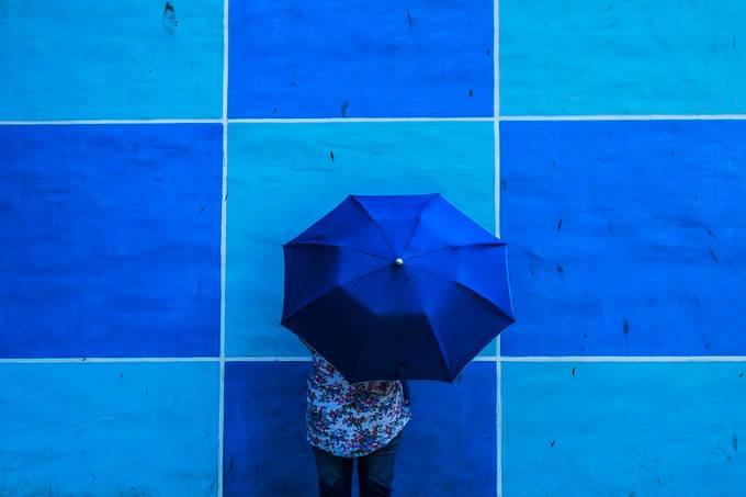 Blue umbrella by suvajitmukherjee - The Blue Color Photo Contest 2018