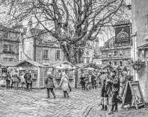 Stephen Cooper - Bath Christmas Market (Les Fredericks, Prints - Bronze)