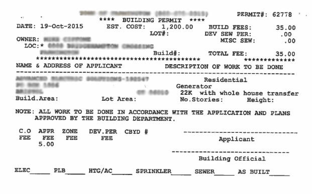 Example client's paper issued building permit