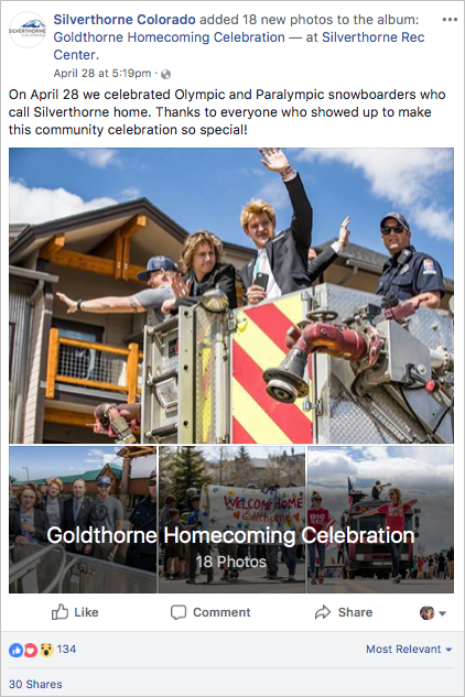 Silverthorne Colorado Olympics Homecoming Celebration