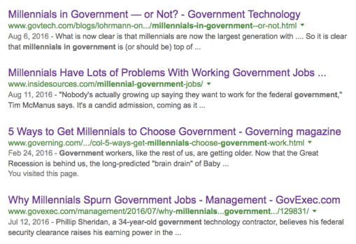 """Millennials working in Government"" Google Search Query"