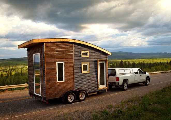 Tiny House on Wheels being towed