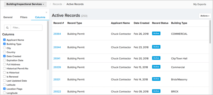 Report Columns in ViewPoint Cloud 3