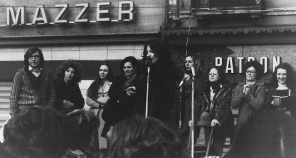 The author speaking at a demonstration in Piazza Ferretto, Mestre, March 1974.