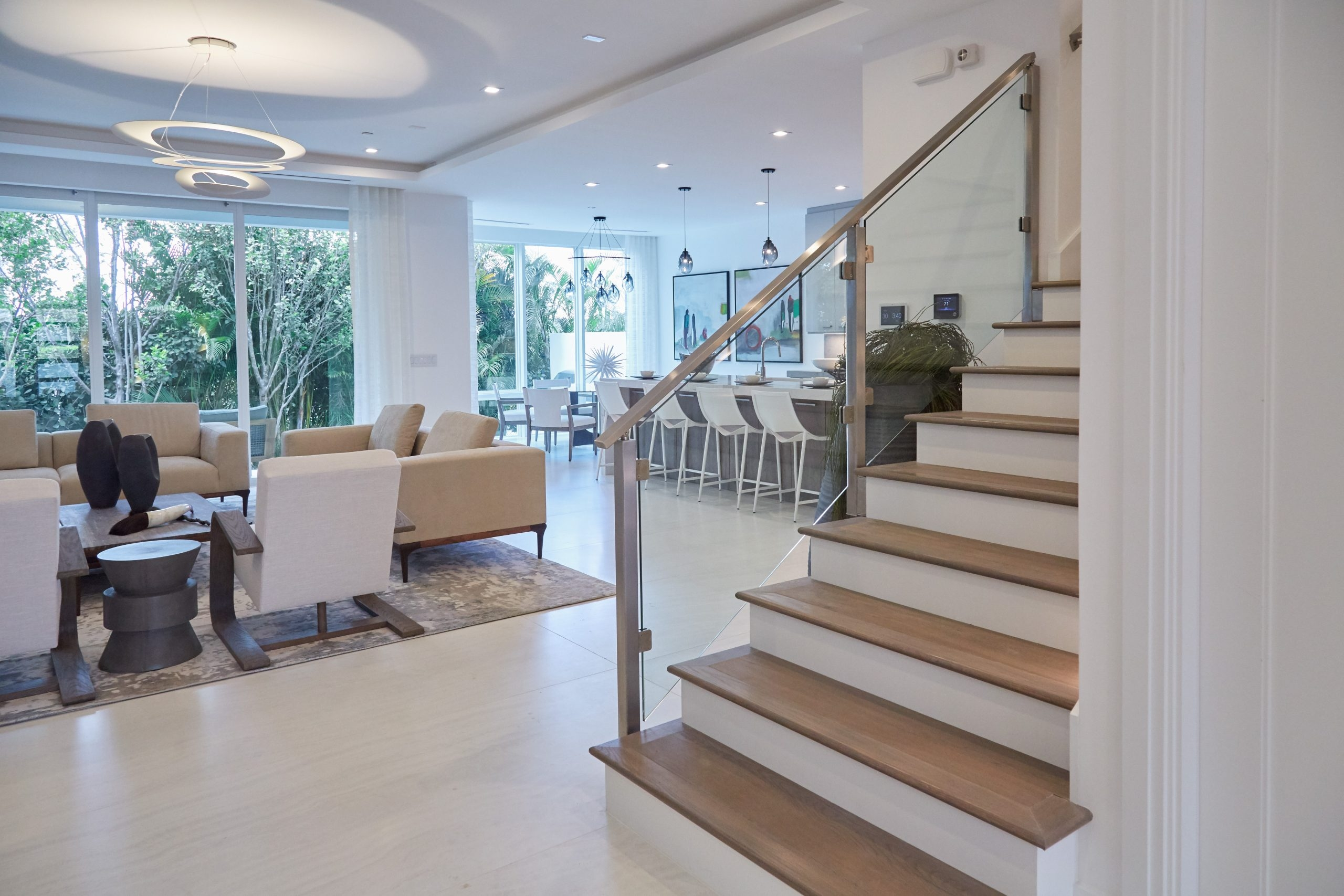 Contemporary Home Glass Staircase   Glass Stair Railings Interior   Indoor   Architectural Modern Wood Stair   Stair Banister   Stainless Steel   Glass Balustrade