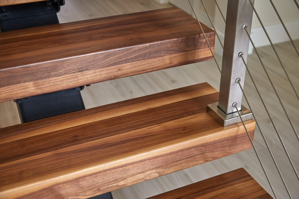 What Are Thick Stair Treads Viewrail | Modern Stair Treads And Risers | Hardwood | Non Slip | Riser Short Stringer | Cap | Luxury Vinyl Stair