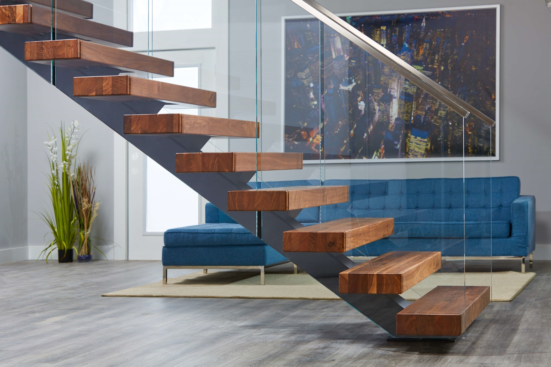 Viewrail Floating Stairs And Modern Railing For Stairs | Wooden Handrails For Outside Steps | Staircase | Building | Wrought Iron | Concrete Steps | Deck