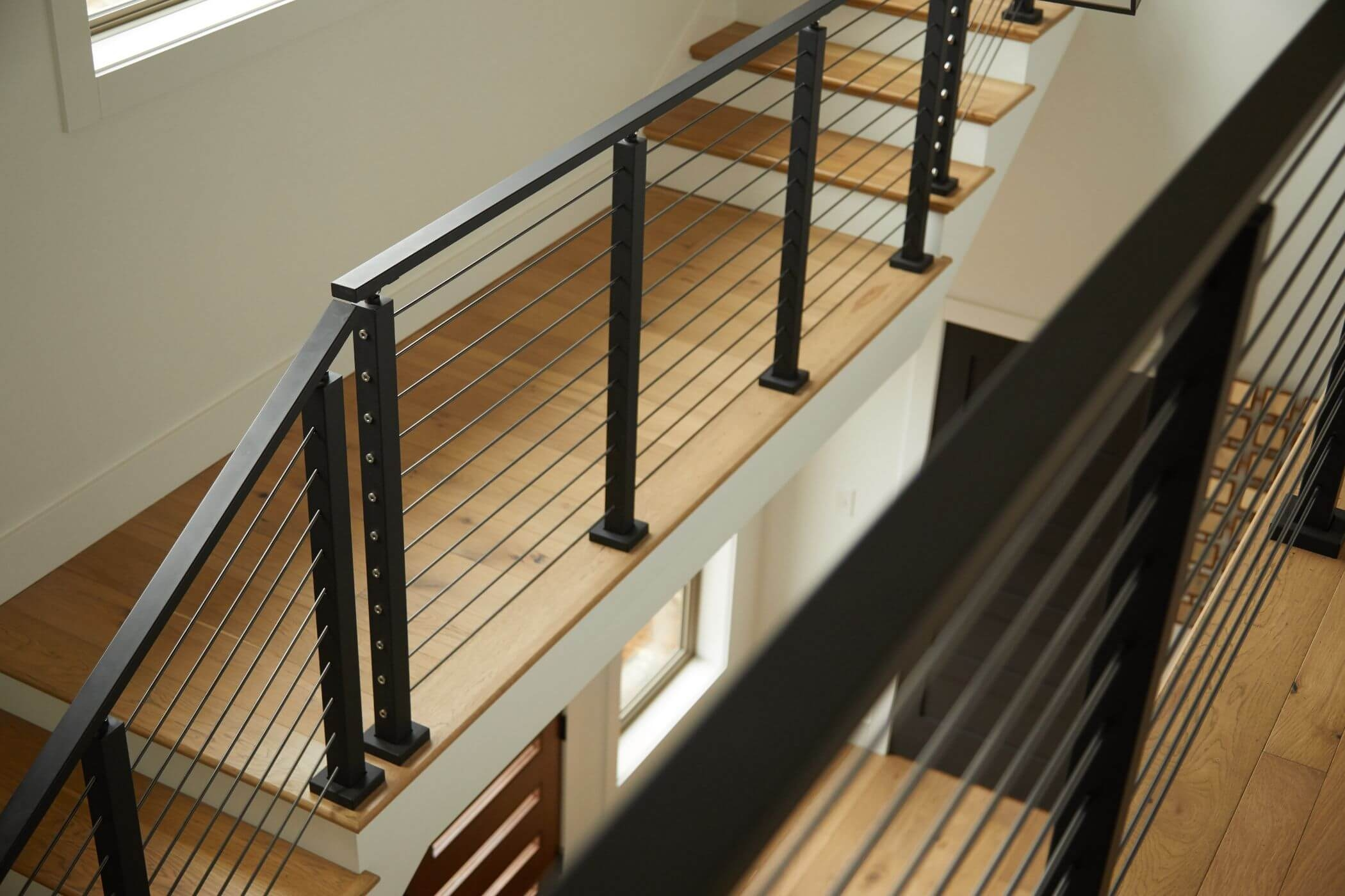 Onyx Rod Railing System Black Stainless Steel Railing Viewrail | Black Metal Handrail For Stairs | Rod Iron | Metal Railing | Iron Pipe | Natural Wood | Artistic
