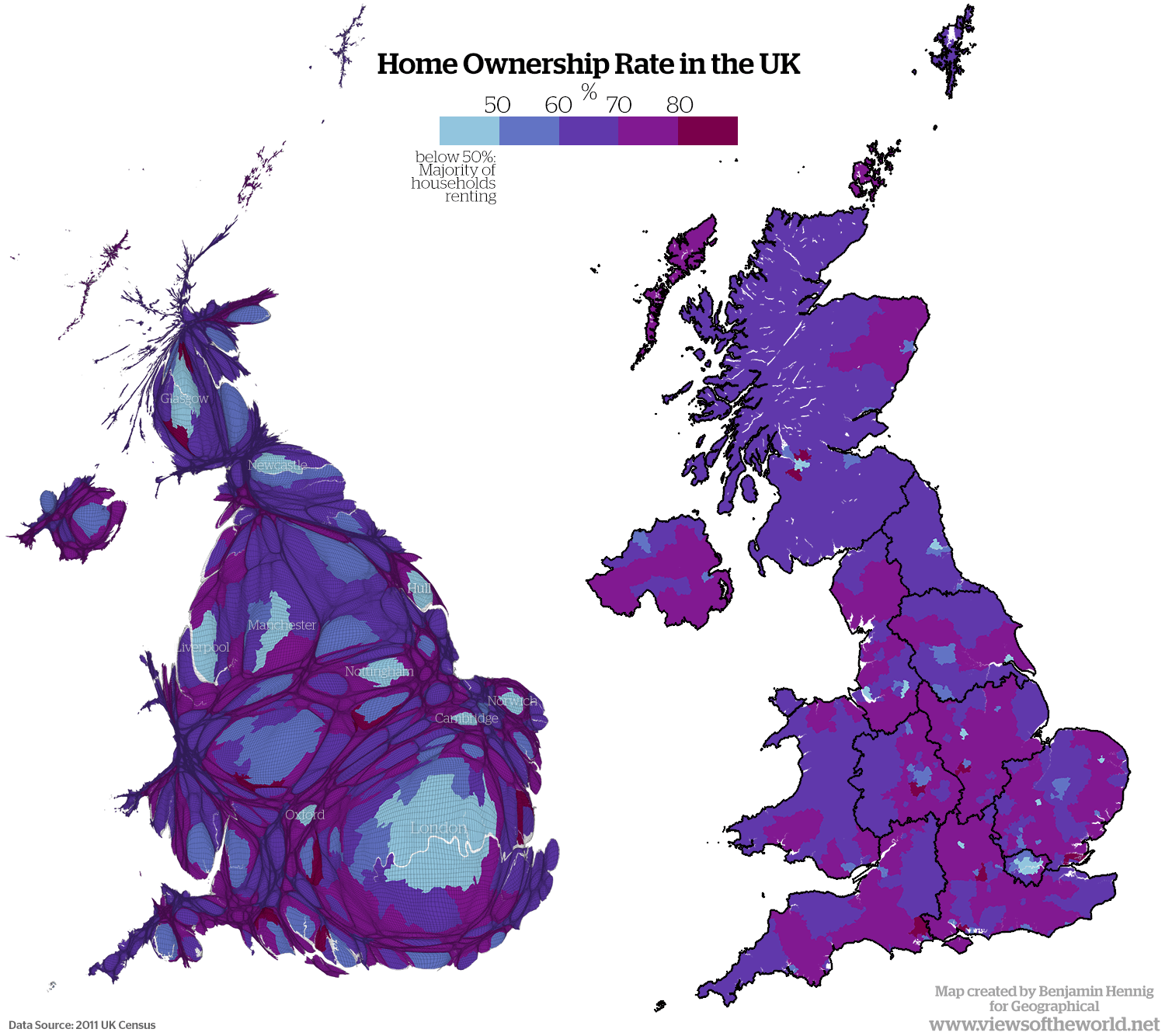 Cartogram and map of home ownership in the UK