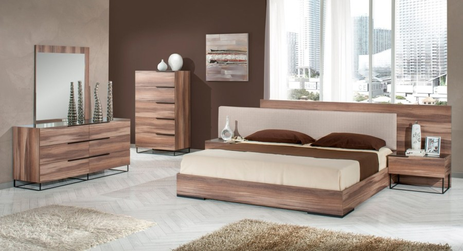 Nova Domus   Collections Matteo Walnut   Fabric Bedroom Collection