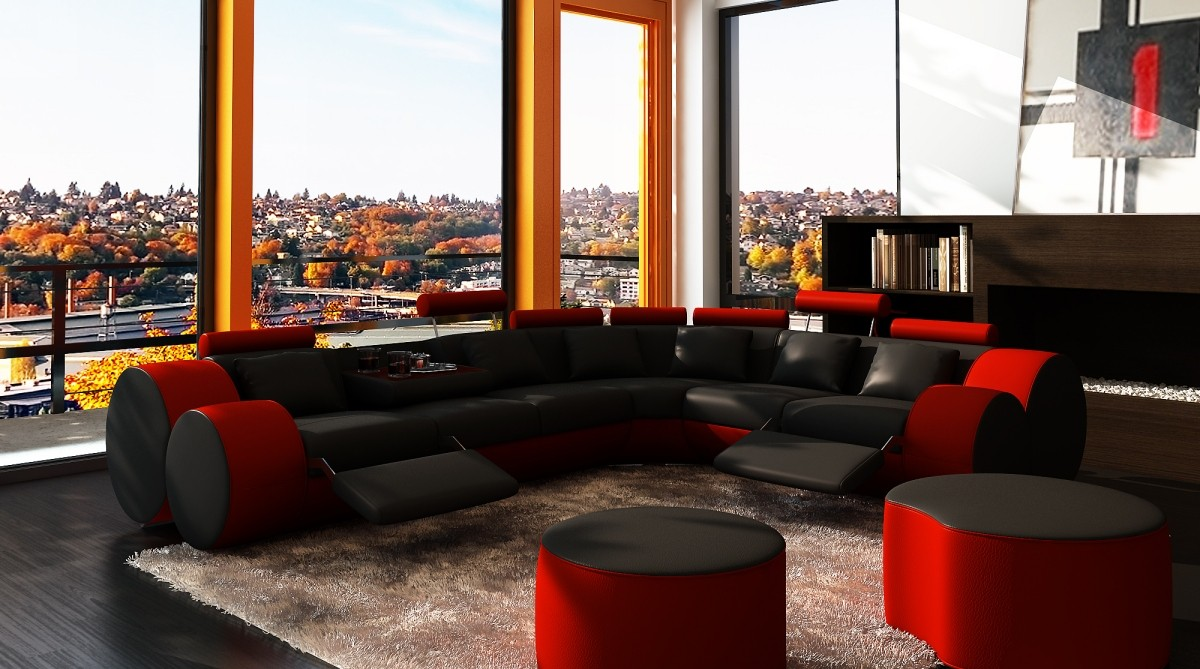 red bonded leather sectional sofa