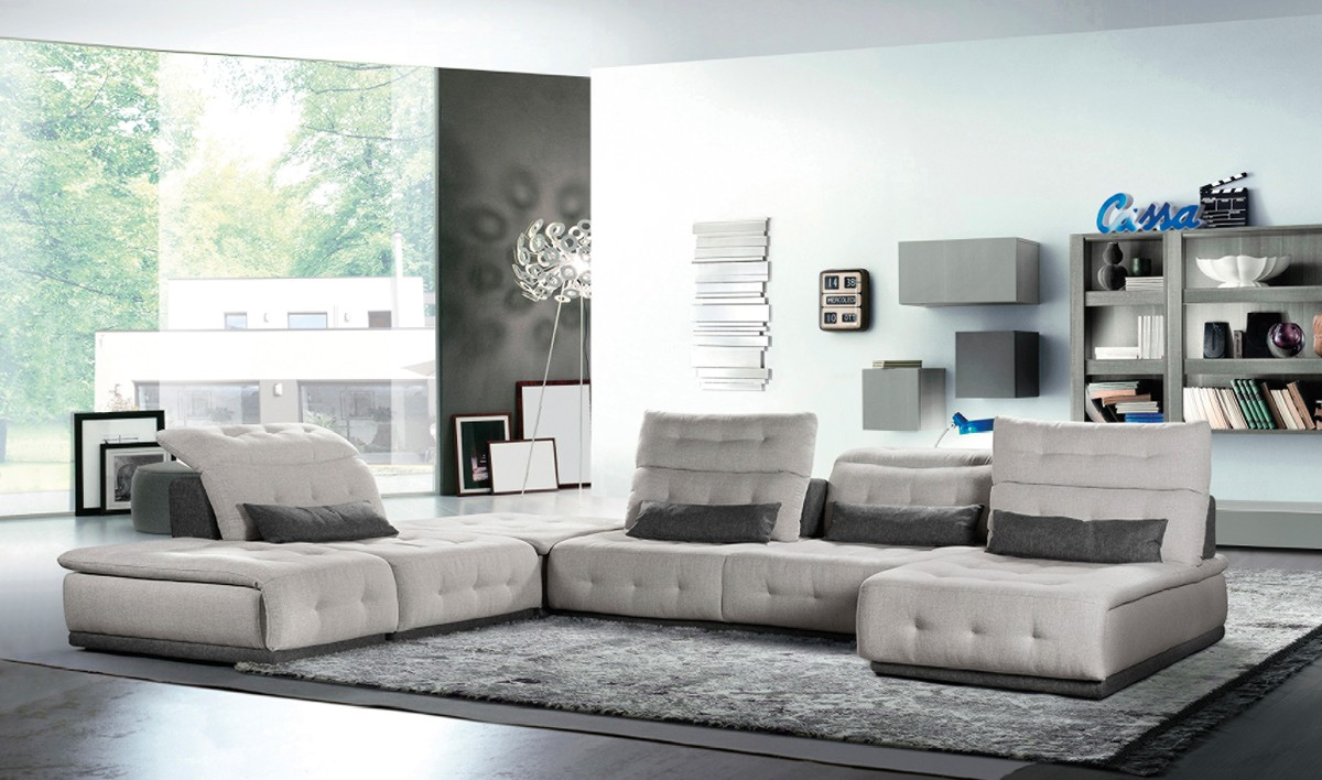 David Ferrari Daiquiri Italian Modern Light Grey Dark Grey Fabric Modular Sectional Sofa Sectionals Living Room