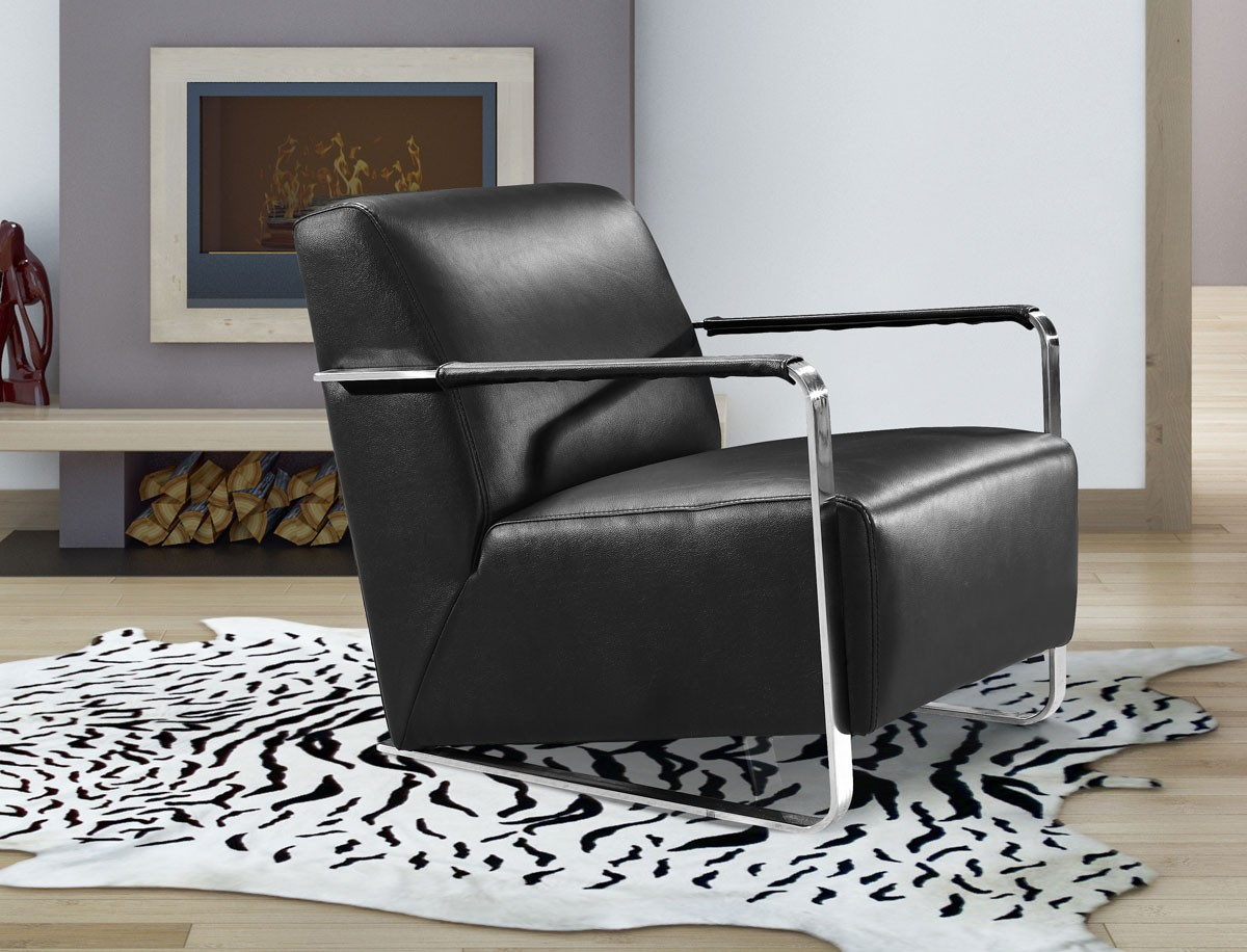 Divani Casa Bison Modern Black Leather Lounge Chair Accent Chairs Accent Furniture
