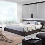Modrest Gamma Contemporary Brown Oak Bed With Storage Beds Bedroom
