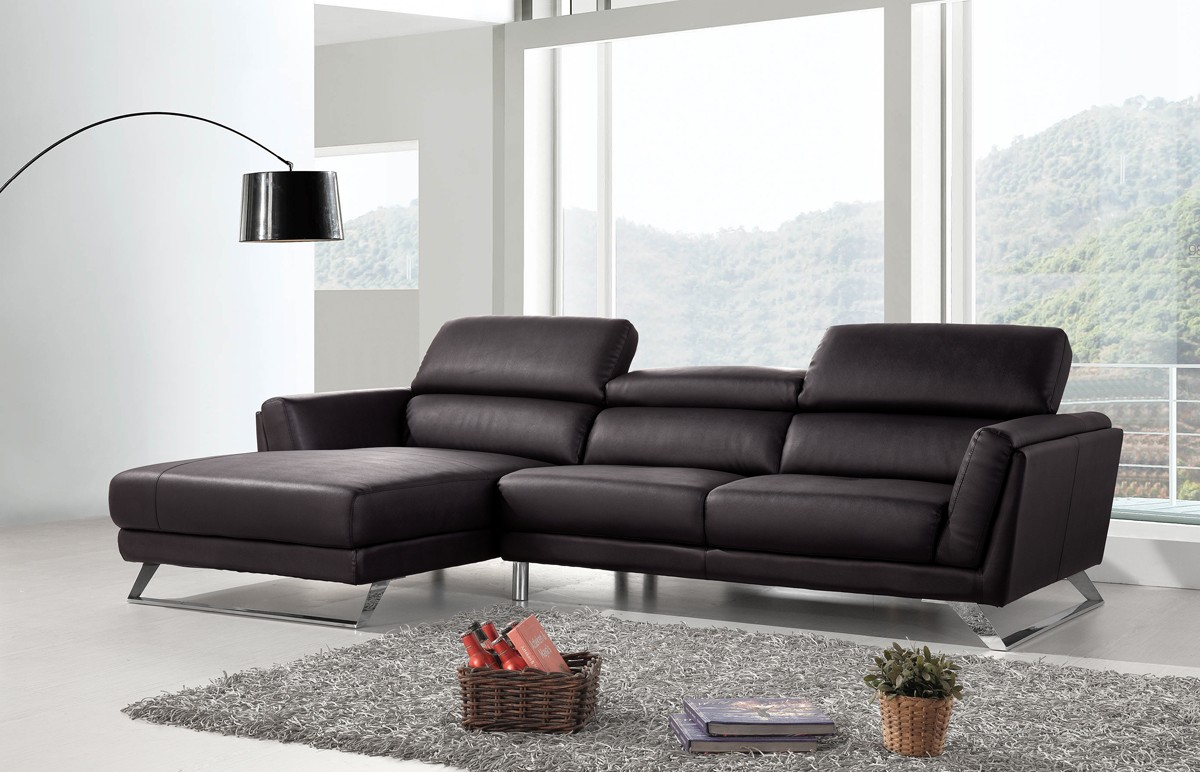 Divani Casa Doss Modern Black Eco Leather Sectional Sofa