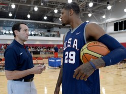 Paul George talks with Team USA head coach Mike Krzyzewski at camp in 2014.