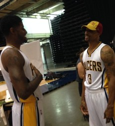 Paul George and George Hill shared a laugh at media day, 2014.