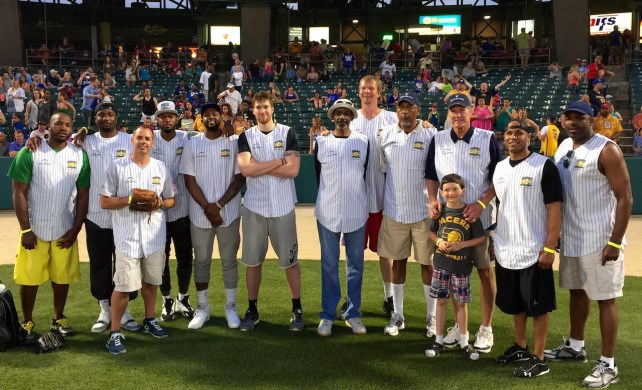 The Pacers — past, present, forever — took a photo together after the 2015 Caroline Symmes Celebrity Softball Game.