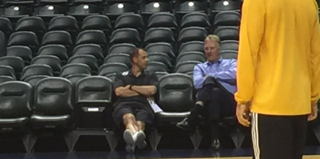 Frank Vogel and Larry Bird talk after nearly every practice.