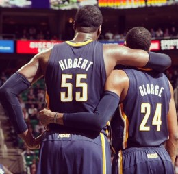 A memorable image from Hibbert's time with the Pacers.