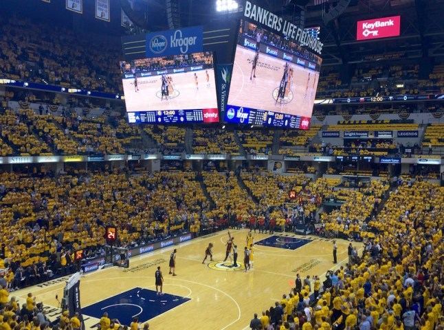Every fan in attendance received a gold Pacers t-shirt.