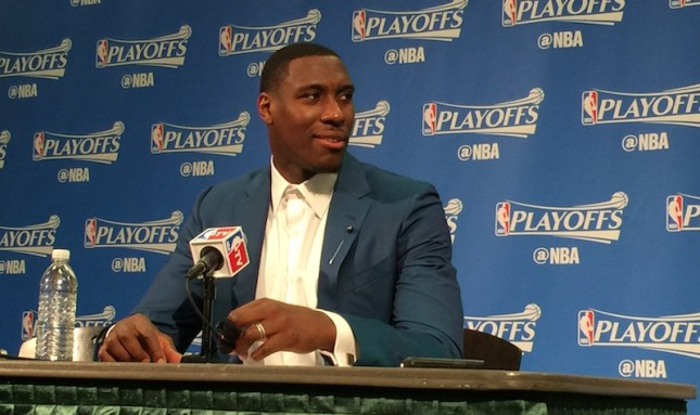 For the first time ever, Ian Mahinmi talks to reporters on a dais after the Pacers' Game 4 win.