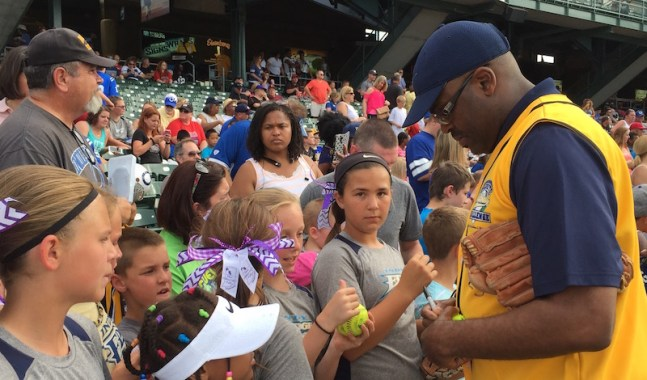Pacers coach Nate McMillan played in the celebrity softball game Thursday night.