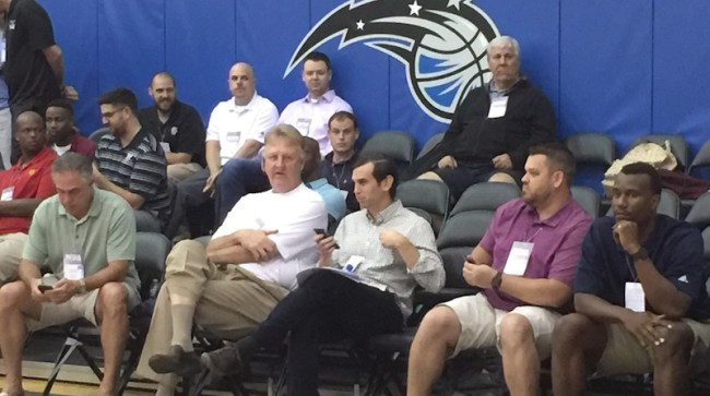 Pacers executives Kevin Pritchard, Larry Bird, and Peter Dinwiddie ... plus Mad Ants GM Brian Levy and Pro Scout Vance Catlin.
