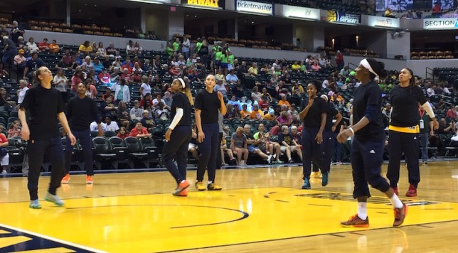 Indiana wore plain black t-shirts Tuesday night against Los Angeles.