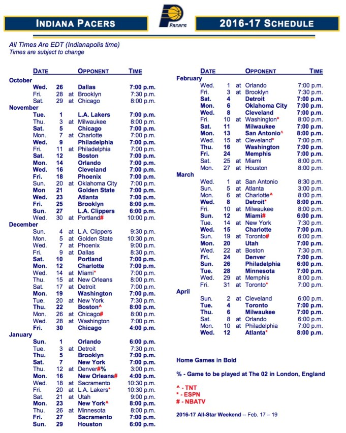 2016-17 Pacers reg. season schedule