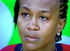 Tamika got emotional before receiving her fourth gold medal.