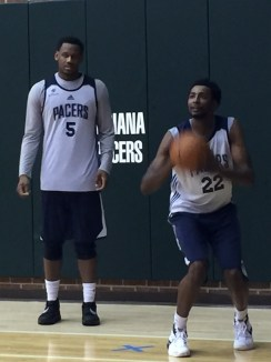 Evans and others worked on 3s after a recent practice.