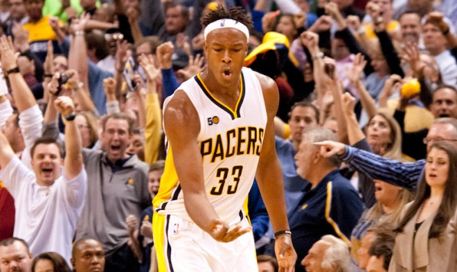 Myles Turner celebrates after a big 3-pointer in their home-opening win over Dallas. [Photo: Frank McGrath/PS&E]
