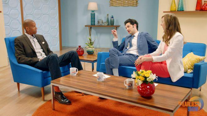 Reggie Miller guest stars on The Earliest Show with Ben Schwartz and Lauren Lapkus. [Photo: Funny or Die]