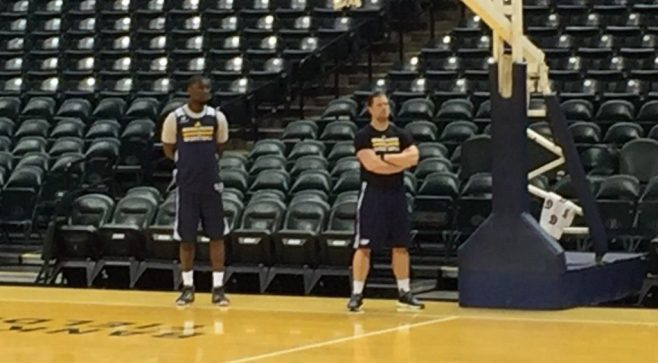 Mad Ants coach Steve Gansey with recent signee Ben Bentil at Pacers practice on Monday.