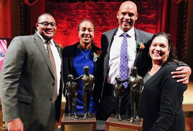 Tamika Catchings and Clark Kellogg with their significant other after accepting the 2016 Pathfinder Award. [Photo: @Catchin24]