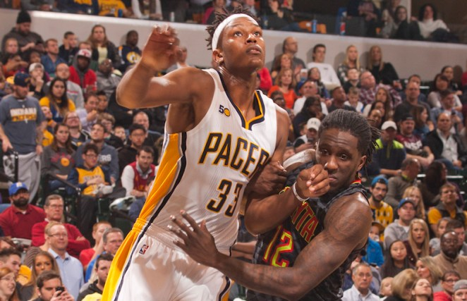Myles Turner had his hands full all game long against the Hawks. [Frank McGrath/PS&E]