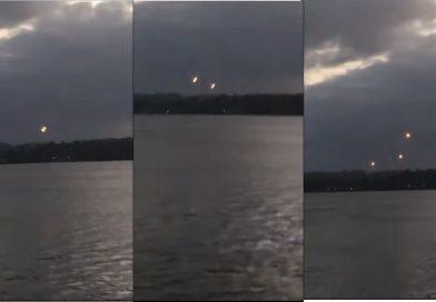 Montagem com diferentes momentos dos OVNIs (UFOs) em Oiapoque