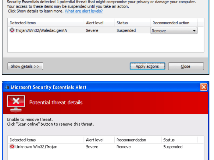 Rogue Microsoft Security Essentials Alert