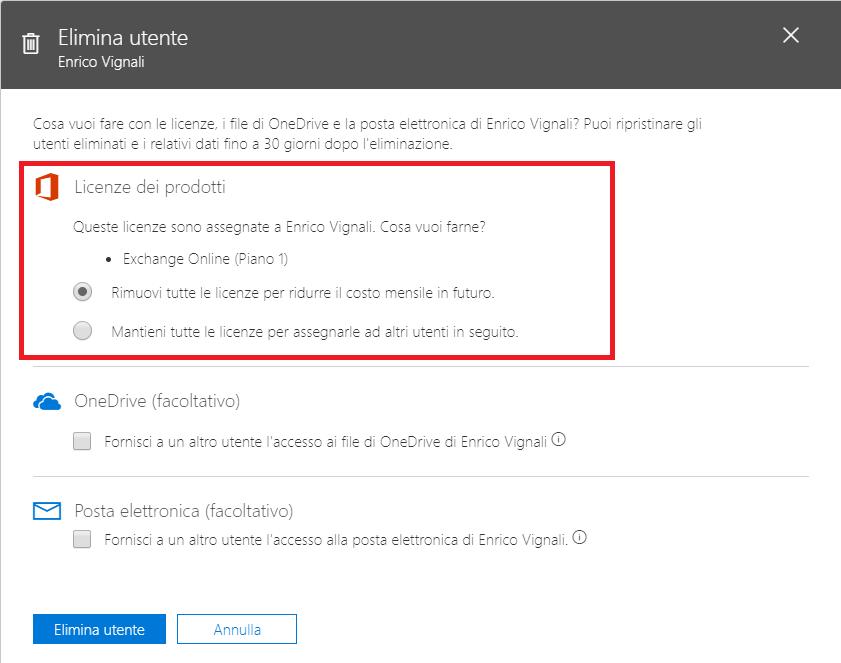 Office 365, workflow di cancellazione utente: gestione licenza