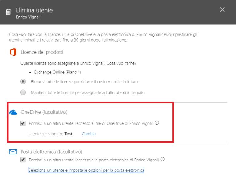 Office 365, nuovo workflow di cancellazione utente: gestione delega diritti a OneDrive for Business