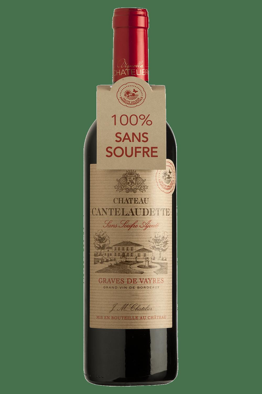 Bouteille de vins rouge sans soufre